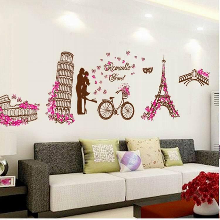 Fashion Wall Stick DIY Home Decoration Bedroom Romantic Eiffel Tower PVC  Stickers