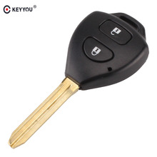 KEYYOU 2 Button Uncut Replacement Plastic Remote Car Key Shell Cae Fob Blank Keys for Toyota Corolla RAV4 Toy43 Blade(China)