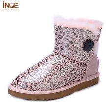 INOE Waterproof Snow Boots Women Wool Lined Shoes For Girls Booties Womens Size 13 Genuine Leather Sheepskin Lined Boots Female