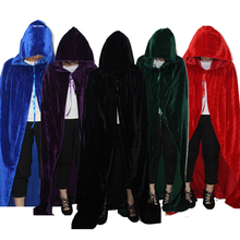 Adult Witch Long Purple Green Red Black Blue Halloween Cloak Hood And Cape Robe Halloween Cosplay Costumes(China)