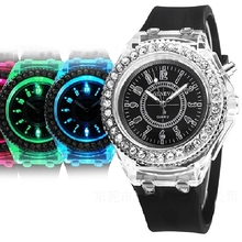 Gnova Platinum Big Dial Women Watch Geneva Style Flashing LED Black light Fashion Wristwatch Rhinestone silicone crystal clock
