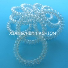 10pcs/lot L size clear crystal telephone wire rope elastic girls women hair ties bands headband ponytail holder hair accessary(China)