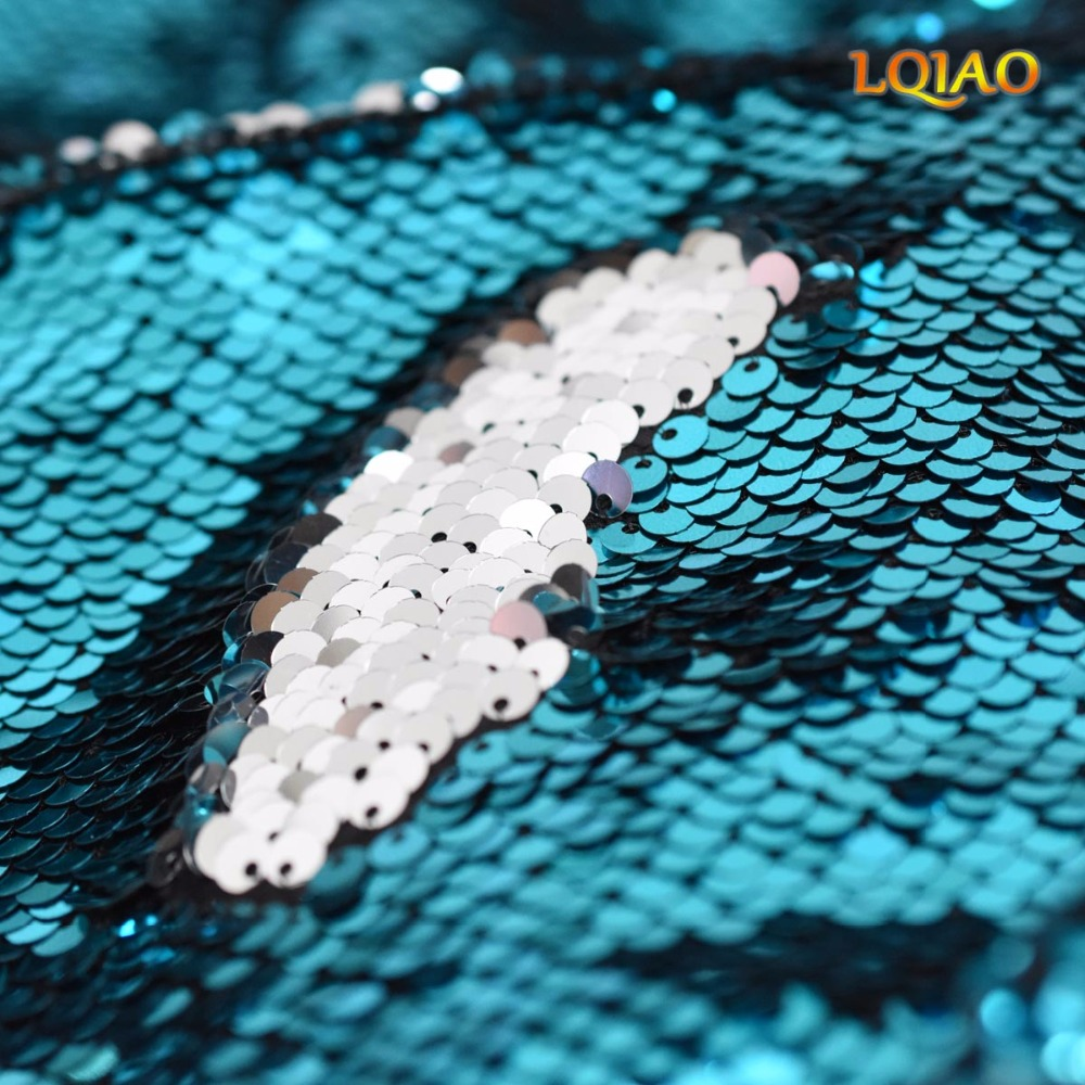 Turquoise Silver Sequin Fabric Reversible-001