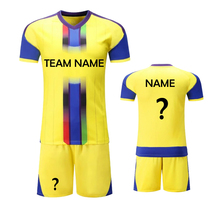 Free Shipping 18 New Yellow Nice Suits Breathable Soccer Jerseys Can Customize Team Name Logos Soccer Uniforms Kits Men's Shirts