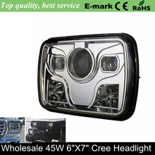 "2016 New product high lumens led 7 inch square led truck headlight 5""X7"" headlamp led H4 high/low beam led head lighting"