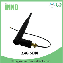 5pcs lot 2.4 GHz 5dBi WiFi Antenna Aerial RP-SMA Female Wireless Router +21cm PCI U.FL IPX to RP SMA Male Pigtail Cable
