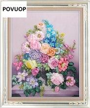 POVUOP Новое прибытие лента вышивка 60X50 см мода цветок 3d печати вышивки крестом картины(China)