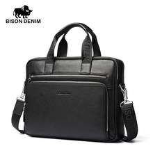 "BISON DENIM Genuine leather Briefcases 14"" Laptop Handbag Men's Business Crossbody Bag Messenger/Shoulder Bags for Men N2333(China)"