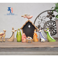 10pcs/set Colorful European Jesus Nativity Scene Christian Church Candlestick Or0nament Religion Resin Decoration(China)