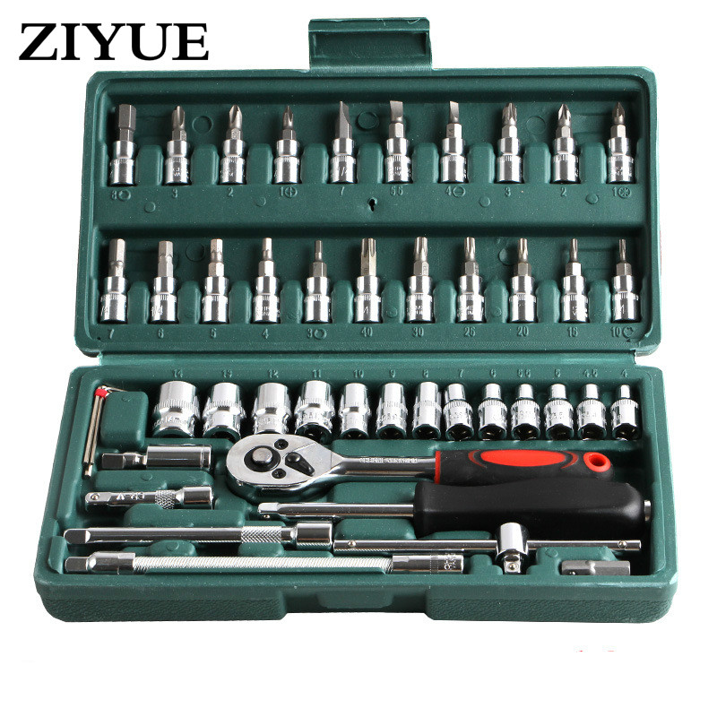 46pcs Spanner Socket Spanner Wrench Set 1/4 Car Repair Tool Ratchet Wrench Set Hand Tool Combination Bit Set Tools<br>