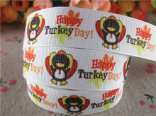 "New arrival 7/8"" (22mm) printed grosgrain ribbons thanksgiving ribbon hair accessories 50 yards WQ14090816(China)"