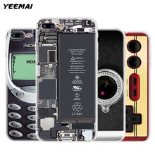 Funny Soft TPU Transparent Case for iPhone 5 5S SE 6 6S 7 8 Plus X Nokia Gameboy Camera Phone Battery Broken Screen Clear Covers