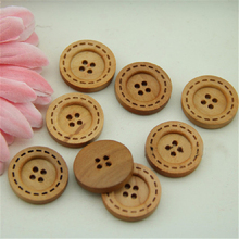 Wholesale DIY fancy 100pcs 23mm 4-hole wood buttons light brown buttons laser line free shipping MM-032