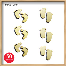 (50pcs/lot) Blank Footprint Wooden Crafts Embellishments Scrapbooking Invitation Card Wood Baby Shower DIY Decoration(China)