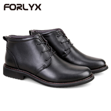 FORLYX Size 35-48 Men Snow Boots Genuine Leather Mens Winter Black Ankle Boots Army Work Safety Causal Waterproof Male Booties(China)