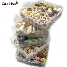 5 Boxed Wooden Crochet Rings Wood Peg Dolls Mixed Color Crochet Beads Pacifier Clip Different Wooden Beads DIY Baby Teether Toys(China)