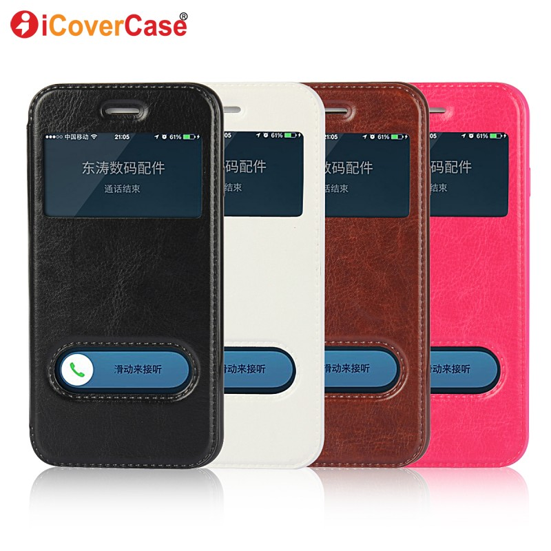 Window View Flip Cover Case For iPhone 7 Plus 5s 5 SE Quick Answer Smart Leather Case Phone Bag For iPhone 6 6s Plus Coque Cover(China (Mainland))