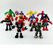 New! 6pcs/lot The Avengers Captain America Iron Thor Marvel Spider Heros Action Figures Children DIY Toys (Head Joint movement)