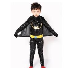 halloween batman costume super hero costume 110-140cm kid child children carinval boy birthday  party gift jumpsuit+cloak+belt