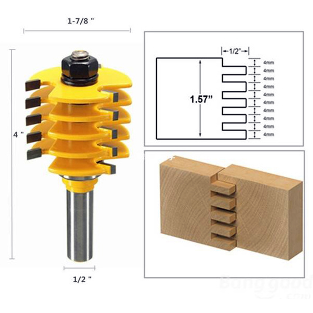 1PC Woodworking Router Drill Bits Solid Hardened Steel Body Adjustable 5 Blade 3 Flute 1/2 Shank Wood Cutter FREE POST<br>