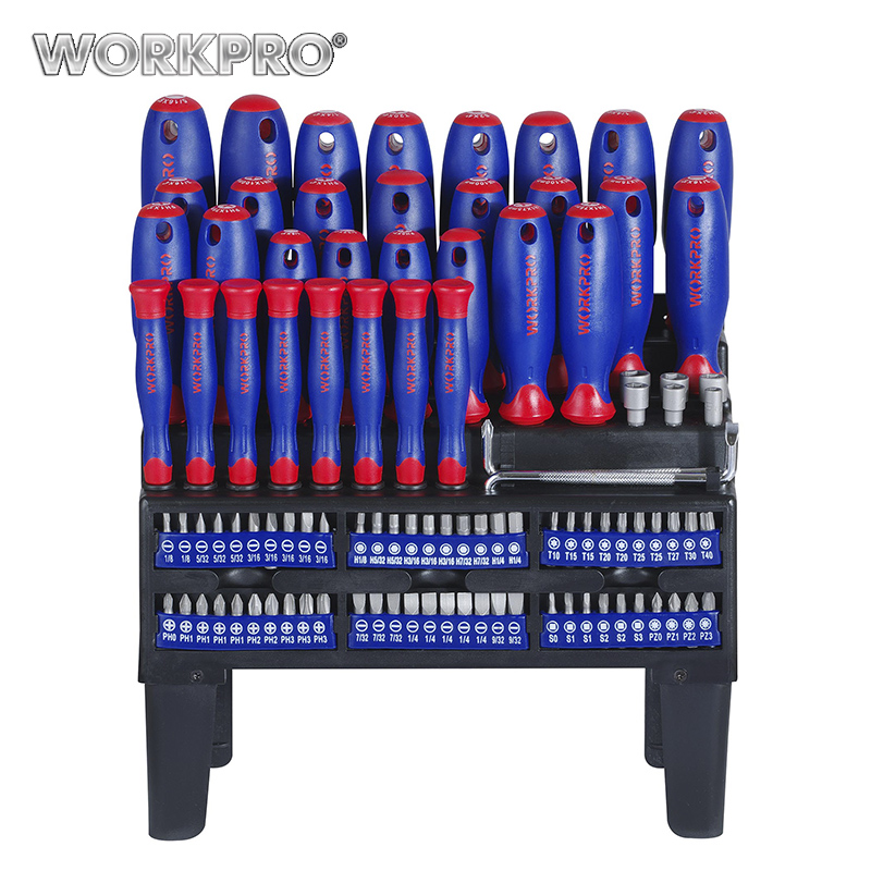 WORKPRO 100 in 1 Screwdriver Set Magnetic Screwdriver Precision Screwdriver Slotted Phillips Torx Square  Hex Pozidriv Bits Set <br>