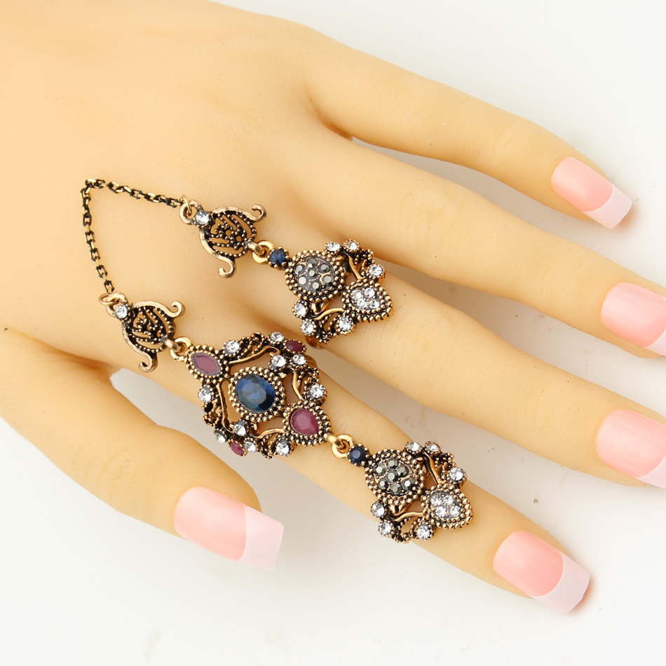 Good Deal Vintage Turkish Double Finger Rings Women Antique Flower Rhinestone Ring Anillos Ethnic Dance Decoration Retro Jewelry