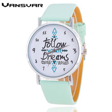Vansvar Fashion Women Watches Leather Strap Follow Your Dreams Watch Casual Wrist Watches Reloj Mujer Relogio Feminino 1651(China)