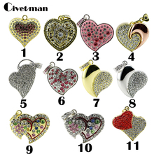 Lovely Heart Crystal USB 2.0 Flash Drives Thumb Pendrive Flash Disk 4GB 8GB 16GB 32GB 64GB USB Creativo Memory Stick(China)