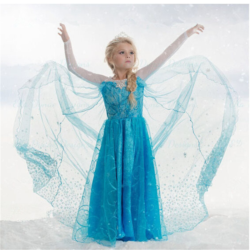 HOT 2016 new spring autumn summer child clothes girls Snow and ice princess dress baby Fashion yarn dress size 2t-8t<br><br>Aliexpress