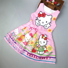 New Hello kitty Kids Dress Girls Cartoon Party Vestidos Christmas Dress Princess Party Dress Fit For 3-8 Years Old(China)
