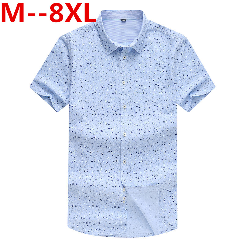 plus size 10XL 8XL 6XL Men Shirt Short Sleeve Oxford Loose Fit Stretchy Gentlemen High Quality Chemise Homme Turn-down Clothing
