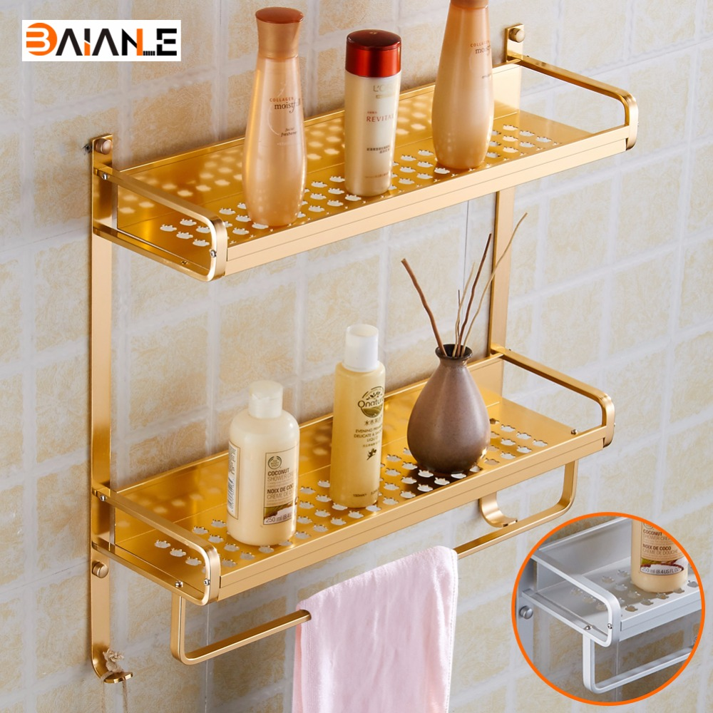 Wall Mount Gold/Silvery Modern Double Layers Bathroom Towel Holder Aluminium Bathroom Accessories Shower Shelf Towel Rack<br>