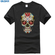 High Quality Tees Short Sleeve Crew Neck Sugar Skull Roses Eyes Day Of The Dead Mexican Gothic Los Muertos T Shirt Men
