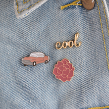 3 pcs/set Metal Enamel Brooch Pins Button Vintage Car Cool Rose Flower Brooches for Women Men Denim Jacket Collar Badge Jewelry