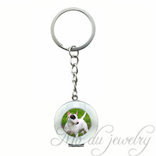 French Bull Terrier Dog Locket Pendant Key Chain Pug Dog Art Picture Puppies Keychain Handmade Glass Dome Jewelry Gifts