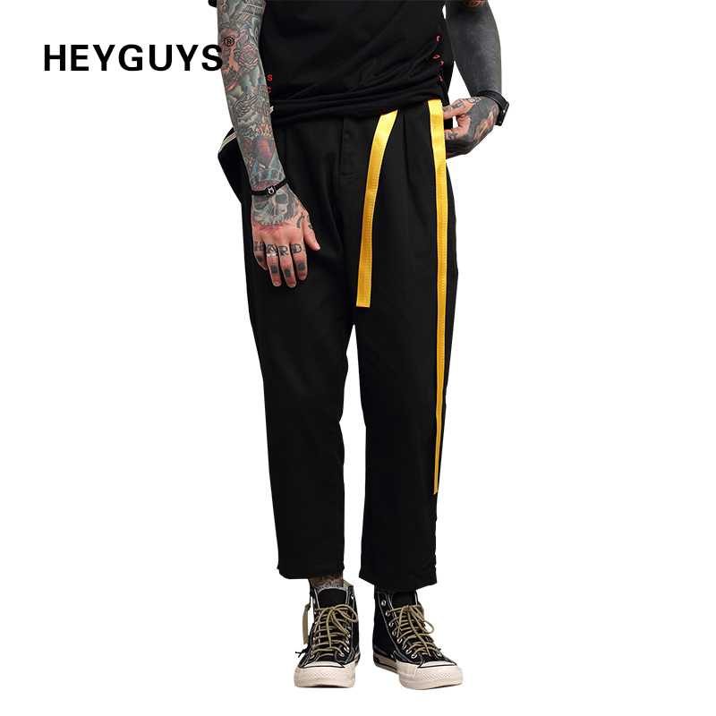HEYGUYS 2018 High street cross  pants brand overalls drawstring pants Jogger Pants pocket trousers hip hop loose pants ankle