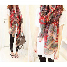 2017 Hot Sale Lady Women's Fashion Long Big Soft Cotton Voile Scarf Shawl Wrap Red