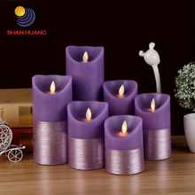 Creative half purple Wire drawing led electronic candle lamp wedding romantic birthday swing flame candle light