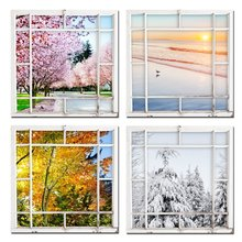 4 Seasons Modern Landscape 4 Panels Framed Canvas Print Scenery Outside Window Wall Art Gallery Wrap Home Living Room Decoration