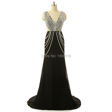 Vestidos de Fiesta Real Sample Sexy V neck Beaded Pearls Chiffon Black Prom Dresses Real Photo Long Formal gowns 2017