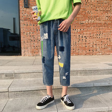 Summer New Jeans Men Fashion Casual Patch Hole Jeans Man Streetwear Trend Wild Hip Hop Loose Denim Pants Male Clothes M-5XL(China)