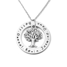 Custom alloy name necklace,family tree pendent,engrave name necklace,heart shape charm,special gift for mother, mom's necklace(China)