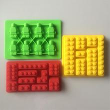 Cake Tools 3 pcs/ Set Building Bricks Figure Robot Silicone Mold Sugarcraft Chocolate Topper Ice Cube Fondant For Lego Mould