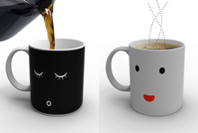 Ceramic coffee mug Color change mug Heat sensitive Magic Cup Expression change cup