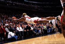 1997 Dennis Rodman  classic Saves Moment, he looks fly ,High quality Fabric Silk Basketball Poster Print