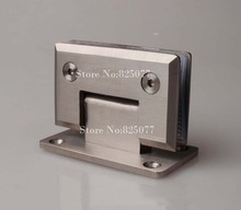 Free shipping High Quality Brushed 90 Degrees open Stainless Steel 304 Wall Mount Glass Shower Door Hinge Hypotenuse Hinge HM158(China)