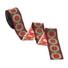 ZERZEEMOOY 2 inch 5cm 10yard/lot High quality Woven Jacquard Ribbon black background Colourful flowers pattern Dog Collars DIY
