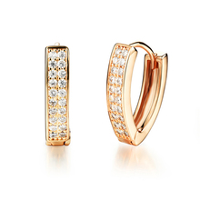 Crystals from Swarovski Cubic Zirconia Stainless Steel Earring For Women Bulgaria Jewelry Gold Color Stud Earrings Brincos 2017(China)