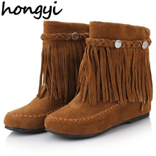 hongyi 35-43 bohemian gypsy boho ethnic national women tassel fringe suede leather ankle boots woman girl flat shoes booties(China)