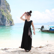 Bohemian Solid Bow Ankle Girls Beach Dresses Cotton Summer 2016 Beach Sundress Kids Dresses Girl Clothing Kids Clothes for 3-14T